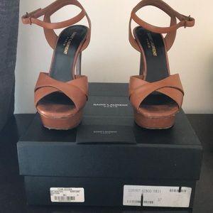 YSL brown platform heels size 7